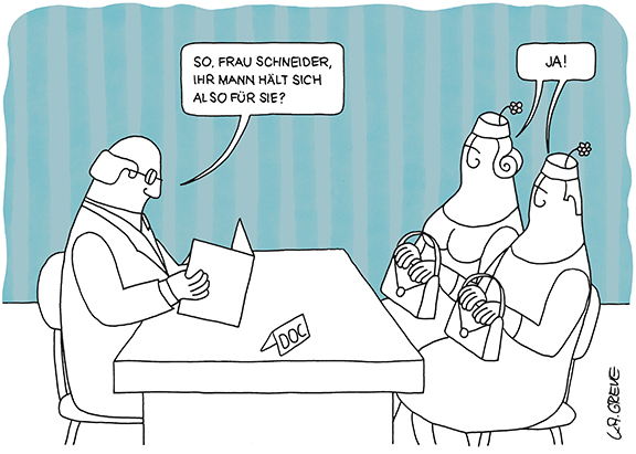 Cartoon | Frau Schneider | © Katharina Greve