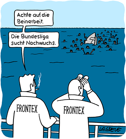 Cartoon | Frontex | © Katharina Greve
