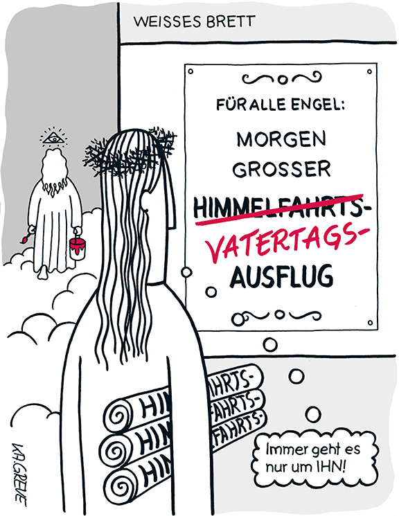 Cartoon | Himmelfahrt | © Katharina Greve