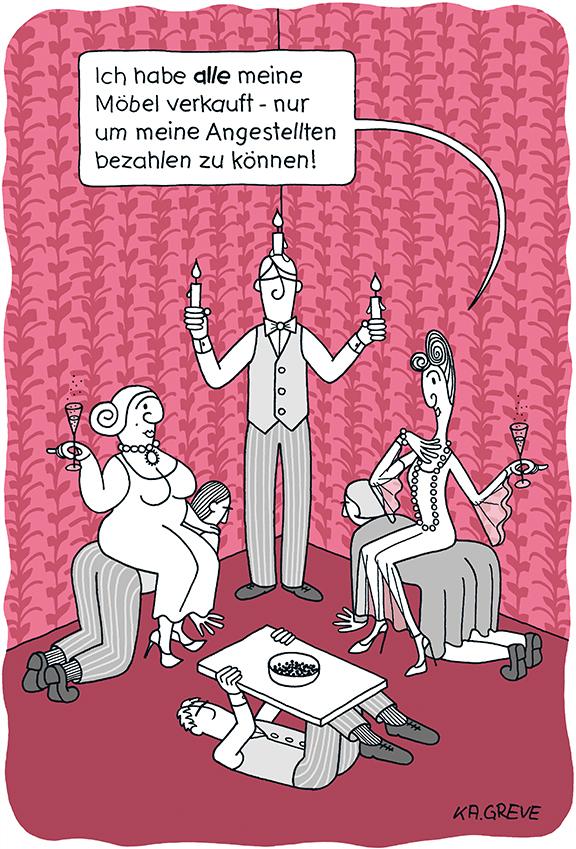 Cartoon | Möbel verkauft | © Katharina Greve