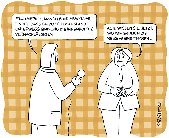 Cartoon | Merkel + Reisefreiheit | © Katharina Greve