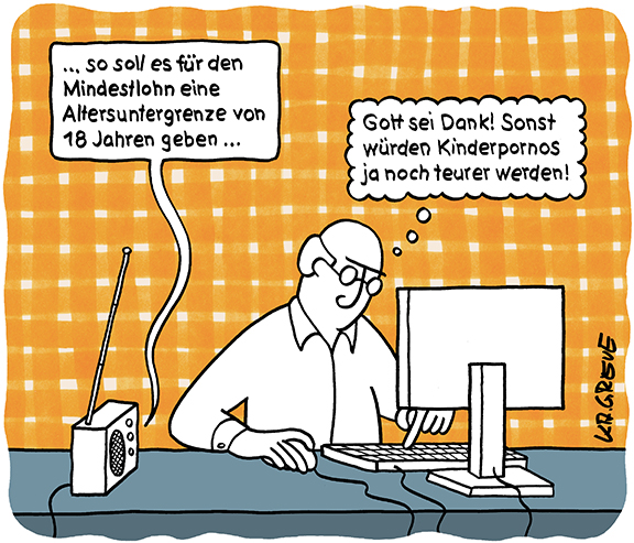 Cartoon | Mindestlohn | © Katharina Greve