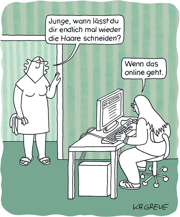 Cartoon | Online Haareschneiden | © Katharina Greve