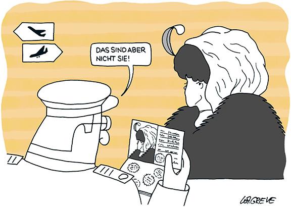 Cartoon | Passkontrolle | © Katharina Greve