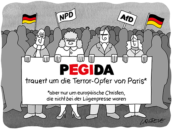 Cartoon | Pegida + Paris | © Katharina Greve