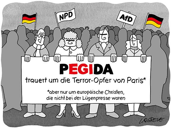 Cartoon | Pegida + Paris | © Katharina Greve