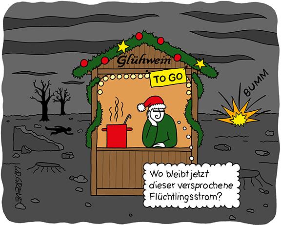 Cartoon | Weihnachten im Krieg | © Katharina Greve