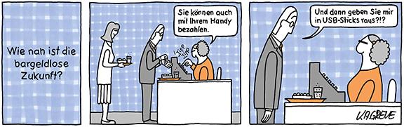 Comic-Strip | Bargeldlos zahlen | © Katharina Greve