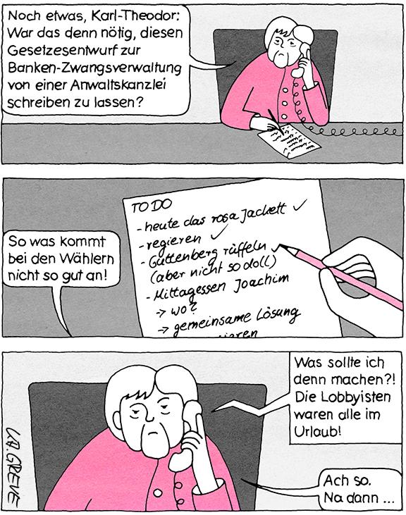 Comic-Strip | Merkel+Guttenberg | © Katharina Greve