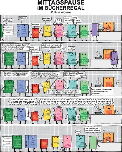 Comic-Strip | Mittagspause im Bücherregal | © Katharina Greve