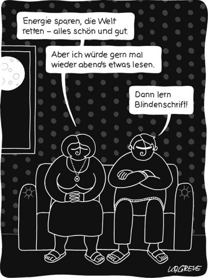 Cartoon | Energiesparen | © Katharina Greve