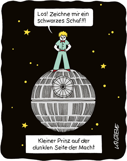 Cartoon | Star Wars & kleiner Prinz | © Katharina Greve