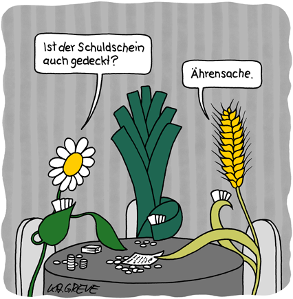 Cartoon | Pflanzen-Poker | © Katharina Greve