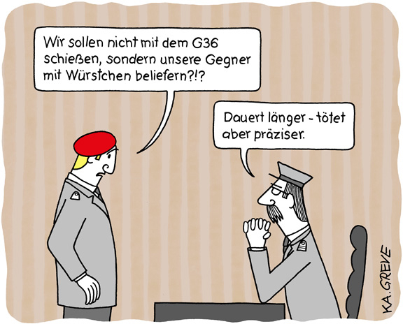 Cartoon | Waffen + Wurst | © Katharina Greve