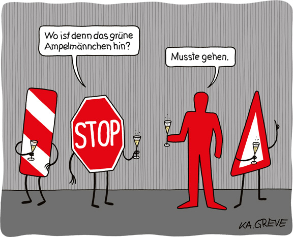 Cartoon | Ampelmännchen | © Katharina Greve