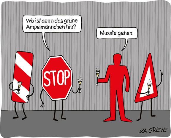 Cartoon | Ampelmännchen | © Katharina Greve