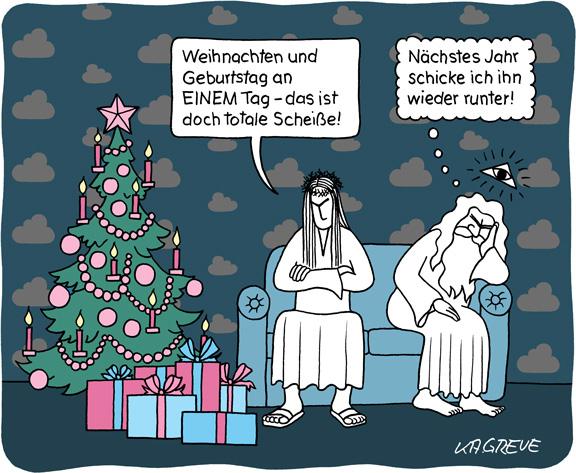 Cartoon | Jesus' Geburtstag | © Katharina Greve