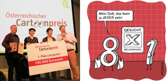 Veranstaltung | Österreichischer Cartoonpreis | Foto © Marcus Müller | Cartoon © Katharina Greve