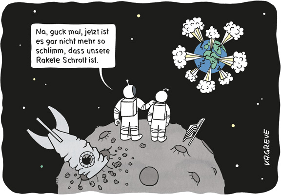 Cartoon | Astronauten | © Katharina Greve