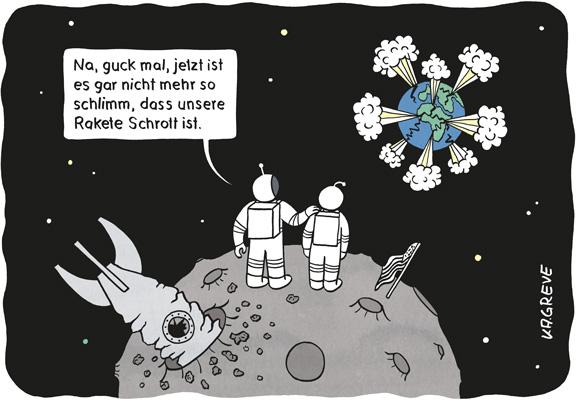 Cartoon | Astronauten | © Katharina Greve