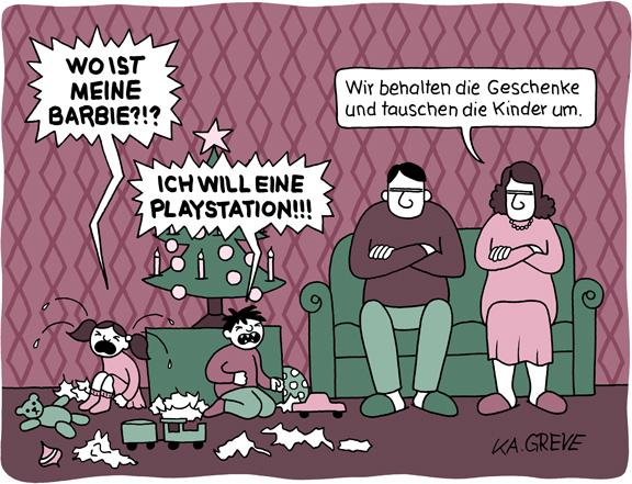 Cartoon | Weihnachten Bescherung | © Katharina Greve