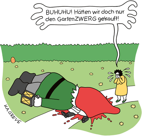 Cartoon | Gartenzwerg | © Katharina Greve