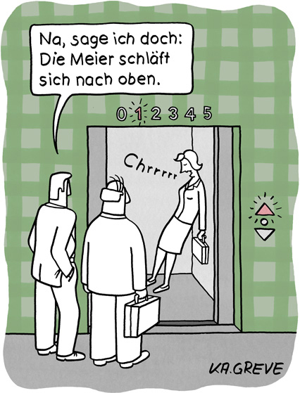 Cartoon | Nach oben schlafen | © Katharina Greve