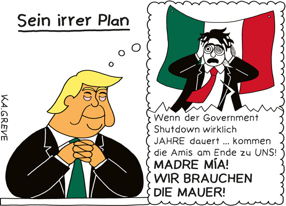 Cartoon | Trump + Government Shutdown | © Katharina Greve