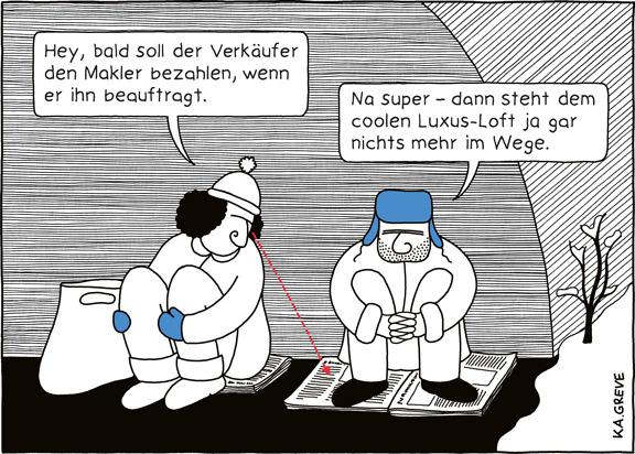 Cartoon | Maklergebühren | © Katharina Greve