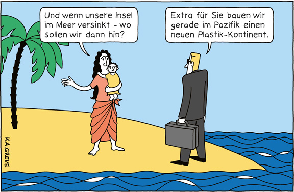 Cartoon | Klima + Plastik | © Katharina Greve