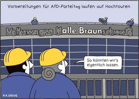 Cartoon | AfD-Parteitag | © Katharina Greve