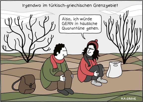 Cartoon | Corona + Geflüchtete | @ Katharina Greve