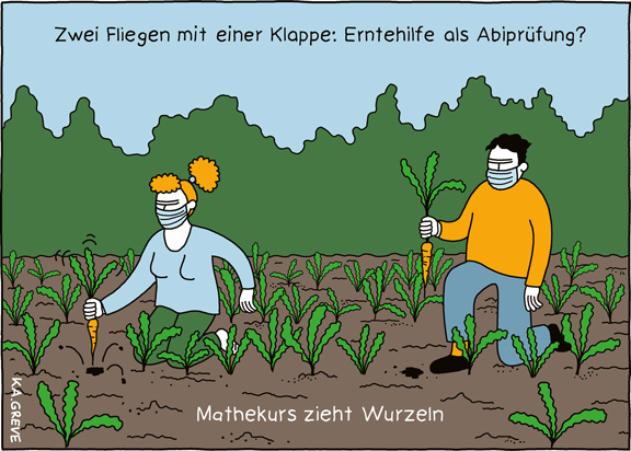 Cartoon | Erntehilfe + Abi | © Katharina Greve