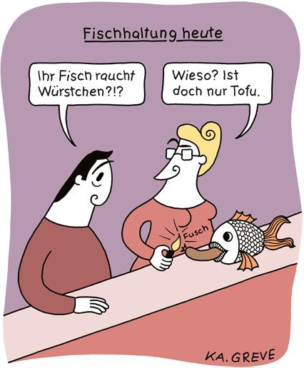 Cartoon | Fischhaltung heute | © Katharina Greve