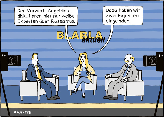 Cartoon | Rassismus + Medien | @ Katharina Greve