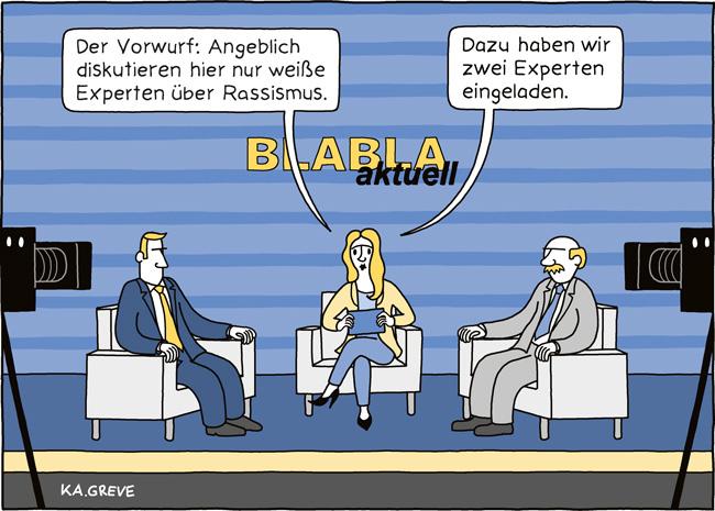 Cartoon | Rassismus + Medien | @ Katharina Greve