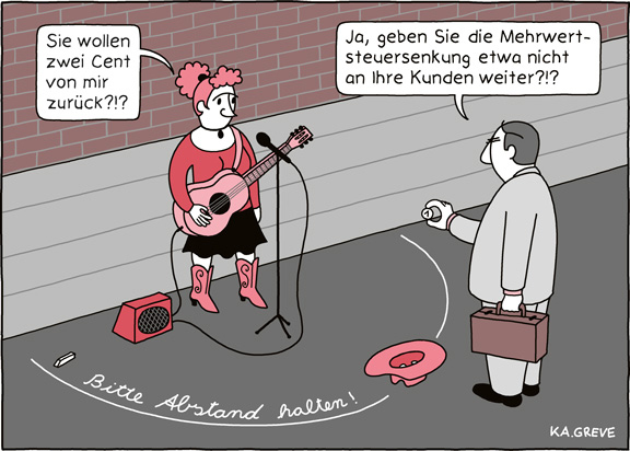 Cartoon | Mehrwertsteuersenkung | © Katharina Greve