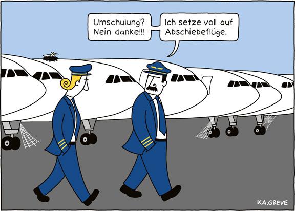 Cartoon | Asylreform + Luftfahrt | © Katharina Greve