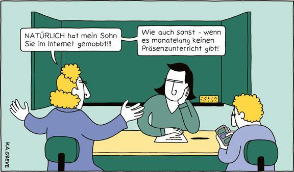Cartoon | Gewalt gegen Lehrer | © Katharina Greve