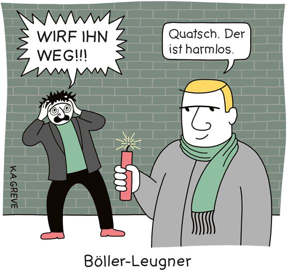 Cartoon | Böller-Leugner | © Katharina Greve