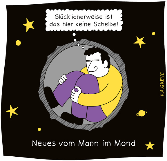 Cartoon | Mann im Mond | © Katharina Greve