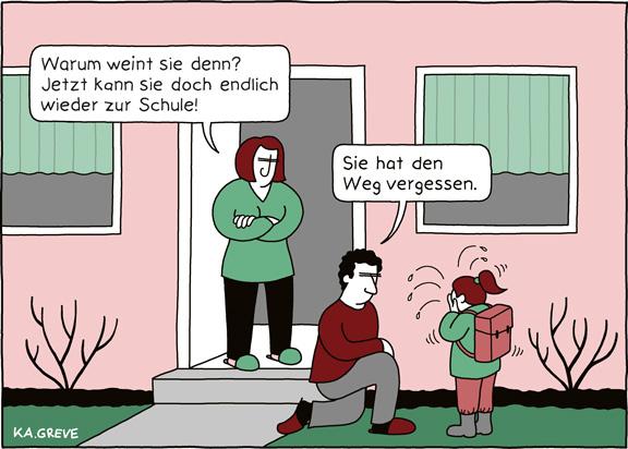 Cartoon | Schulöffnung | © Katharina Greve