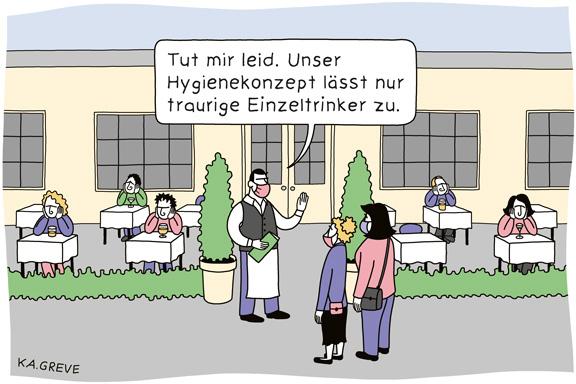 Cartoon | Außengastronomie | © Katharina Greve