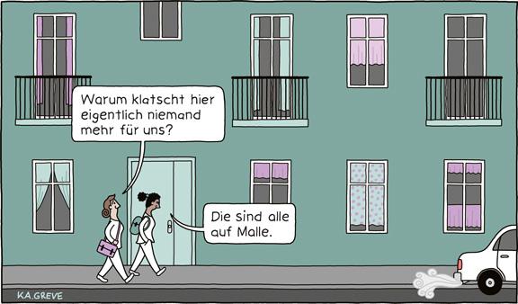 Cartoon | Pflegekräfte | © Katharina Greve