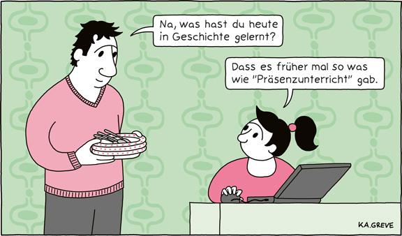 Cartoon | Präsenzunterricht | © Katharina Greve