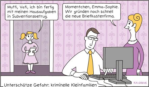 Cartoon | Clankriminalität | © Katharina Greve