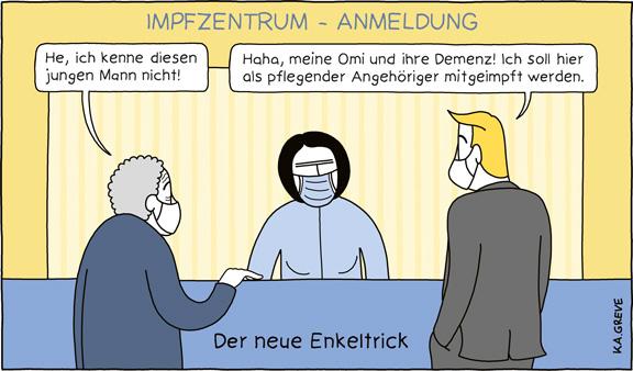 Cartoon | Impfdrängler | © Katharina Greve