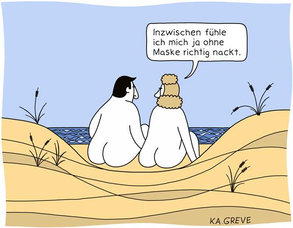 Cartoon | Maske vermissen | © Katharina Greve