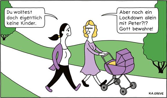 Cartoon | Corona + Geburtenrate | © Katharina Greve