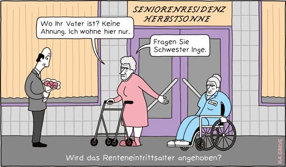 Cartoon | Renteneintrittsalter | © Katharina Greve